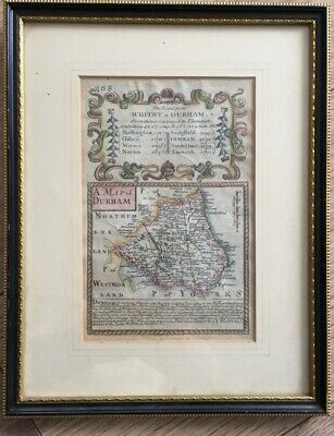 1720 Bowen Antique Map of Durham Road Map Hand Coloured