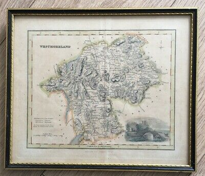 19thC Framed And Hand-coloured map of Westmoreland, Arch Fullerton and Co