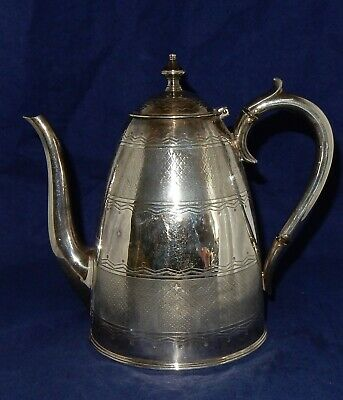 Vintage Ornate Machined and Chased Elkington & Co Silver Plate Coffee Pot 15207
