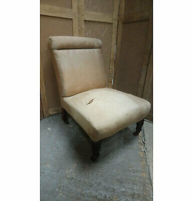 Antique late Victorian roll back nursing or bedroom chair for upholstery
