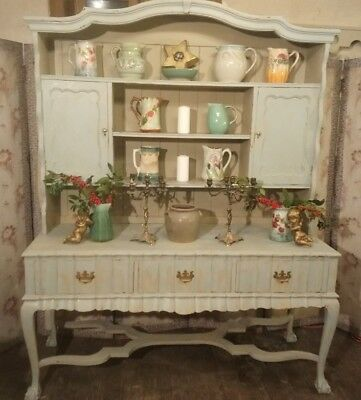 Large French chateau chic distressed painted kitchen dresser