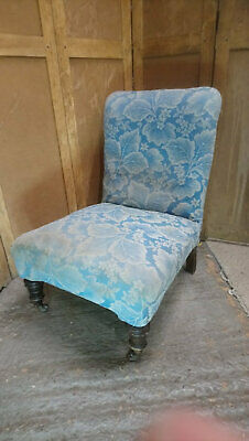 Antique Victorian scroll back nursing or bedroom chair for upholstery