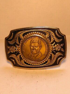 Vintage Belt Buckle Will Rogers 1879-1979 Centennial Gold Tone