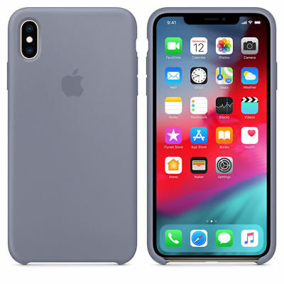 Original Silicone Case For Apple IPhone XS Max Genuine OEM Cover Lavender Gray
