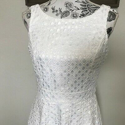 ef004a6e0afd4 White House Black Market Textured Embroidered Eyelet Fit and Flare Dress sz  6