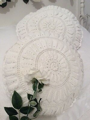 1 Vintage French Bolster/Cushion Cover~Provincial Linen~Hand/Needle Crochet Lace