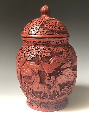 Late 19th Century or Early 20th Century Chinese  Carved Cinnabar Lacquer Jar