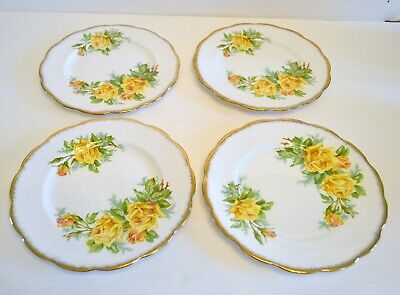 Royal Albert Tea Rose Yellow Pattern Set Of 4 Salad Plates 7 Inch