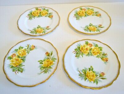 Royal Albert Tea Rose Yellow Pattern Set Of 4 Dessert Plates 6 Inch
