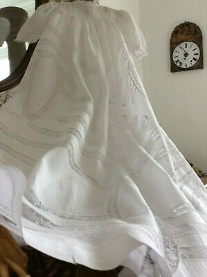 Antique French Christening Gown~Fine Lawn~Exquisite Delicate Lace~Brderie Anglai