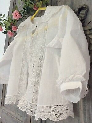 Exquisite Antique French Christening jacket ~Fine Lawn ~Lace ~ Broderie Anglaise