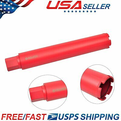 """US Dry and Wet Diamond Core Drill Bit Set for Concrete Masonry 2.5"""" x 1' 4"""" Red"""