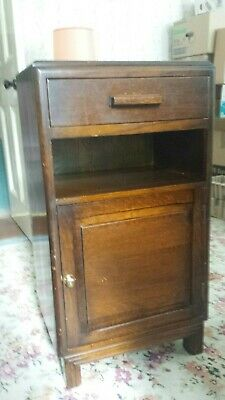 Vintage Antique Tall Wooden Bedside Cupboard Telephone Table Cupboard Drawer