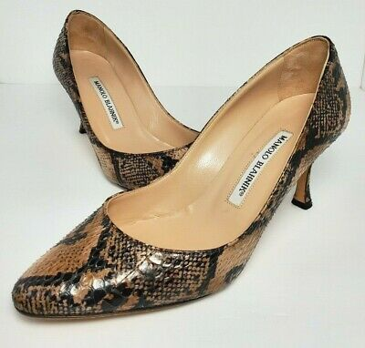 387e75ad7416b Manolo Blahnik Snake Skin Pumps Heels Shoes Size 7 Python Brown Black Nude