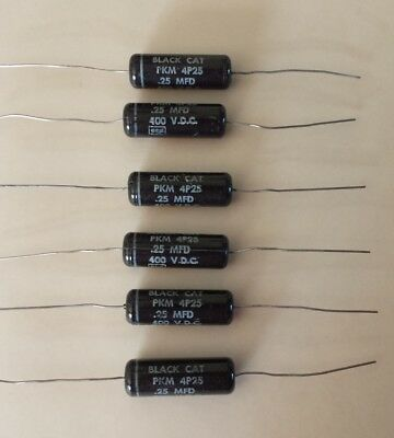 Six (6) Cornell Dubilier Black Cat 0.25uF 400V Capacitor PKM 4P25 - NEW / NOS
