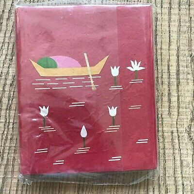 Red Hand Covered Notebook Canoe & Water Lotus Plain Paper *New*