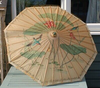Vintage CHINESE / JAPANESE PAINTED PAPER & BAMBOO PARASOL - KINGFISHERS