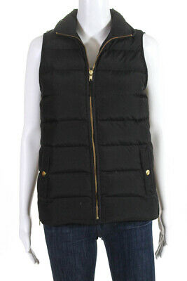 93b7a57eed2 J Crew Womens Gold Tone Hardware Zip Front Puffer Vest Jacket Black Size XS
