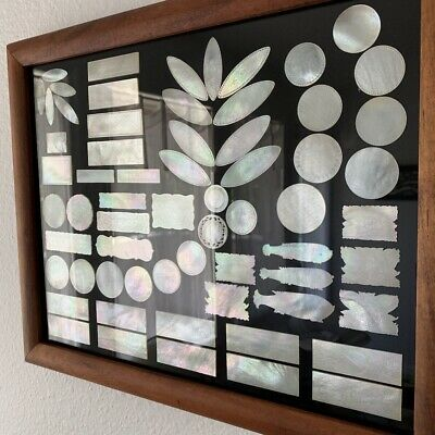 Framed antique Chinese engraved mother of pearl MOP 64 gaming chips colorful