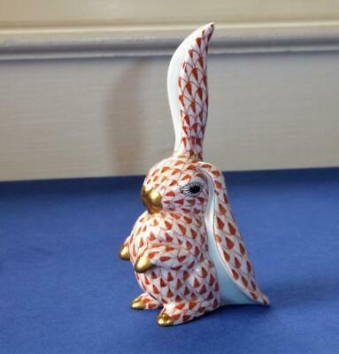 Herend Hungary Porcelain Hand Painted Rust Fishnet Rabbit One Ear Up One Down