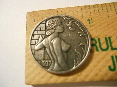 Hobo Nickel Topless Girl Leaning on brick wall Novelty Coin Token