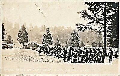 c1914 RPPC WWI American Lake, Camp Lewis Soldiers Sepia Real Photo Postcard