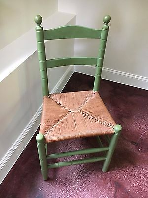 CHAIR SHAKER LADDERBACK with HAND RUSH SEAT Antique Sage Green