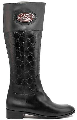 5f0143f9747 GUCCI BLACK LEATHER Tall Riding Boots Logo Medallion Women's Size 9 ...