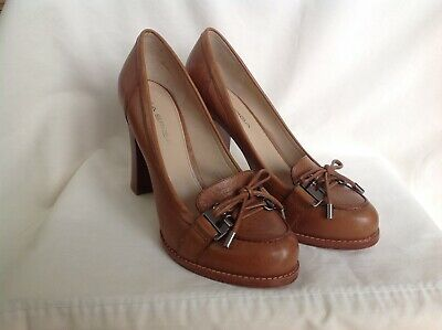 8560dc80b58bc ESCADA WOMENS SHOES Pumps Heels Woven Brown Leather Size 6 36 Italy ...