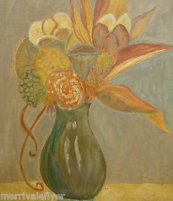 Painting Oil 1940s Mystical FLORAL STILL LIFE Original Mid Century Modern signed