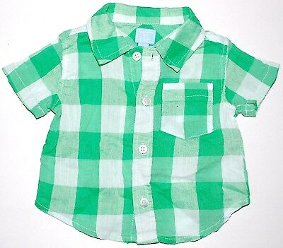 Infant Boys' Children's Place Lightweight Shirt 0-3 Months Green Check Plaid
