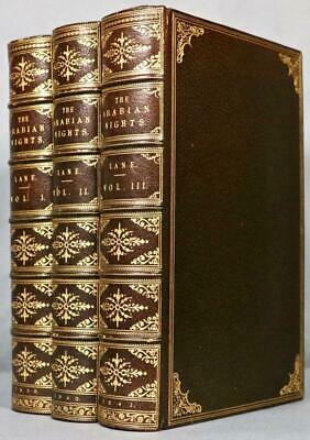 "1839 1stED The Arabian Nights Aladdin Illustrated Fine Leather Bindings 10""x6.5"""