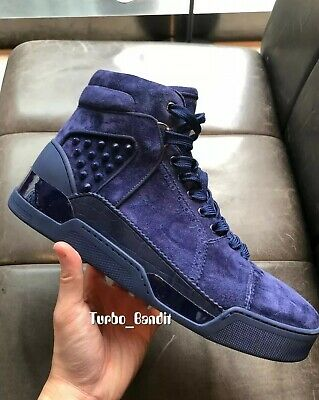 3e3f6e990fe8 Authentic  1395 Christian Louboutin Loubikick Blue Suede Sneakers Shoes