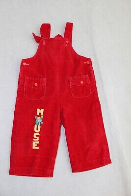 RETRO red baby boy girlunisex red corduroy size 0 overalls vintage dungarees