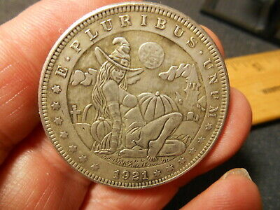 Skull in Hat Medal Token Hobo Nickel Style Fantasy Coin Penny version
