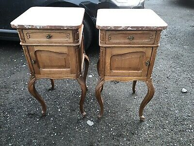 French Louis Marble Top Bedside Cabinets
