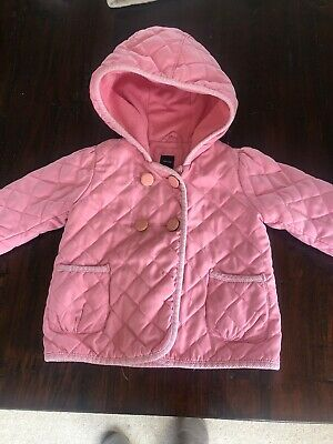 Baby girls pink quilted Padded gap jacket coat with hood age 3 Fleece Lined