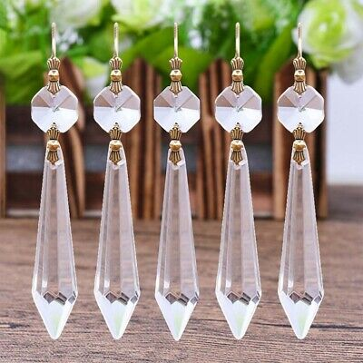 10x Prisms Chandelier Crystal Glass Lighting Hanging Drop Pendant Jewelry New UK