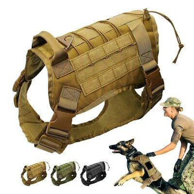 AU Military Tactical Training Dog Soft Harness Nylon Vest For Large Polices Dog