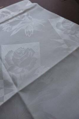 Huge 13ft vintage UNUSED snow white French damask tablecloth -  design of Roses