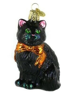 Old World Christmas Ornaments: Halloween Kitty Glass Blown Ornaments for Christ