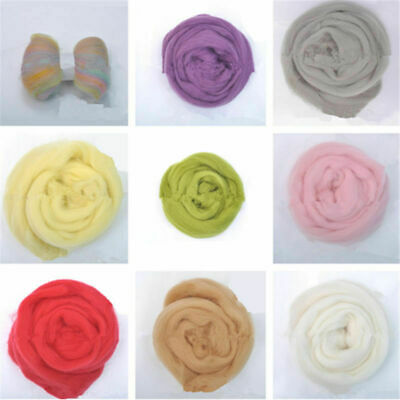 10g Genuine Wool Top Fibre Roving For Needle Felting Materials Lot Color option