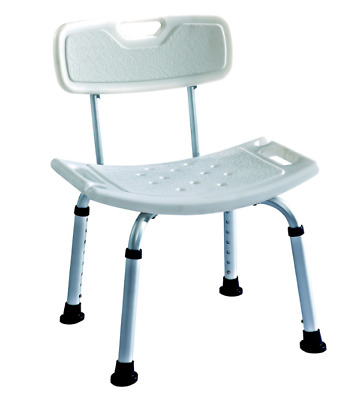 ELITE CARE Lightweight Aluminium Shower Stool Bath Seat Bench Chair Back Rest