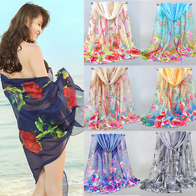 Women Chiffon Scarf Rose Flowers Feather Printed Shawl Soft Scarves Vintage Acc