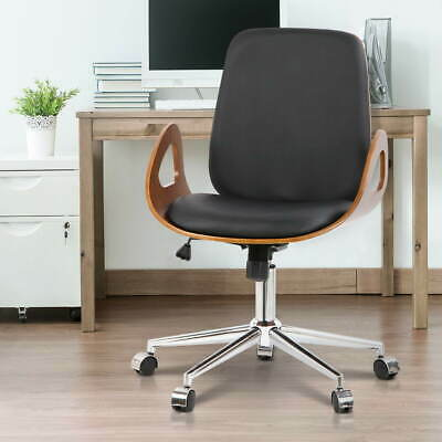 Artiss Wooden & PU Leather 360° wivel Seat Executive Walnut Office Desk Chair