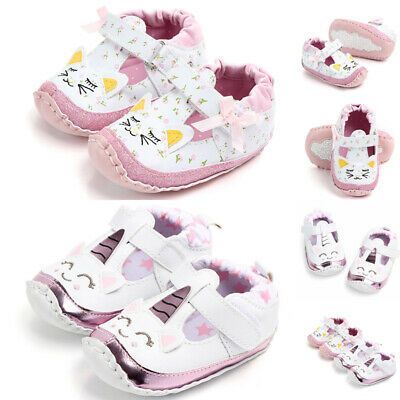 2c8888507 Baby Girls Unicorn Sneakers Leather Holiday Crib Soft First Walker Shoes New