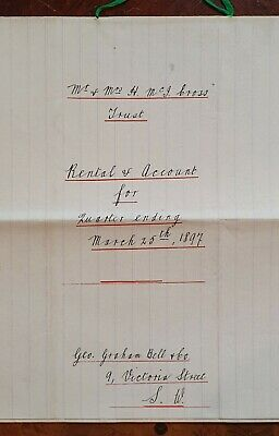 1897 Account Documents for Mr & Mrs. Cross, for Rental Properties in London