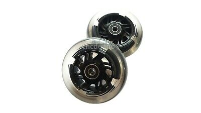"2 X Wheelchair Castors FLASHING LED Light-Up 100mm or 120mm 4"" or 5"" inch wheels"