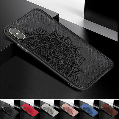 For iphone XS Max XR 8 7 6S Mandala Fabric Hybrid Soft TPU Case Shockproof Cover