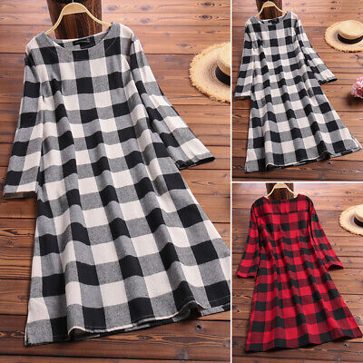 178c873e3940d5 ZANZEA Women Long Sleeve Plaid Check Tunics Casual Long Shirt Dress Midi  Dress